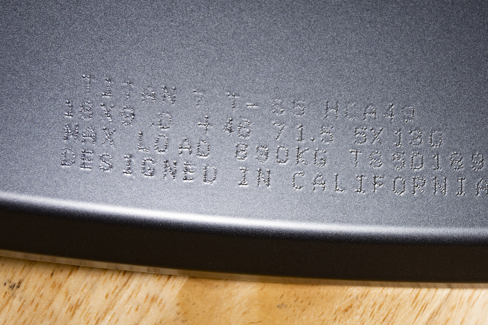 Titan 7 Load Rating Engraving