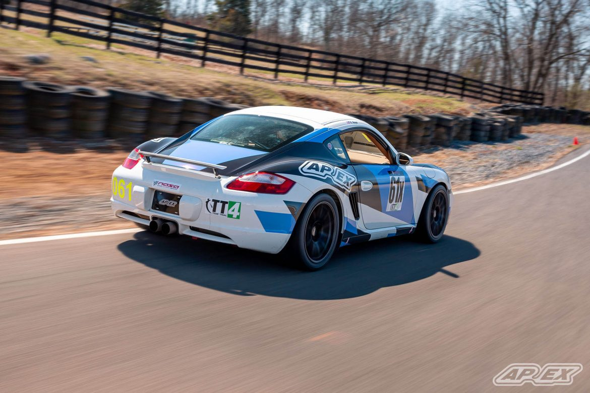 Porsche Cayman S on APEX Wheels at Summit Point Motorsports Park