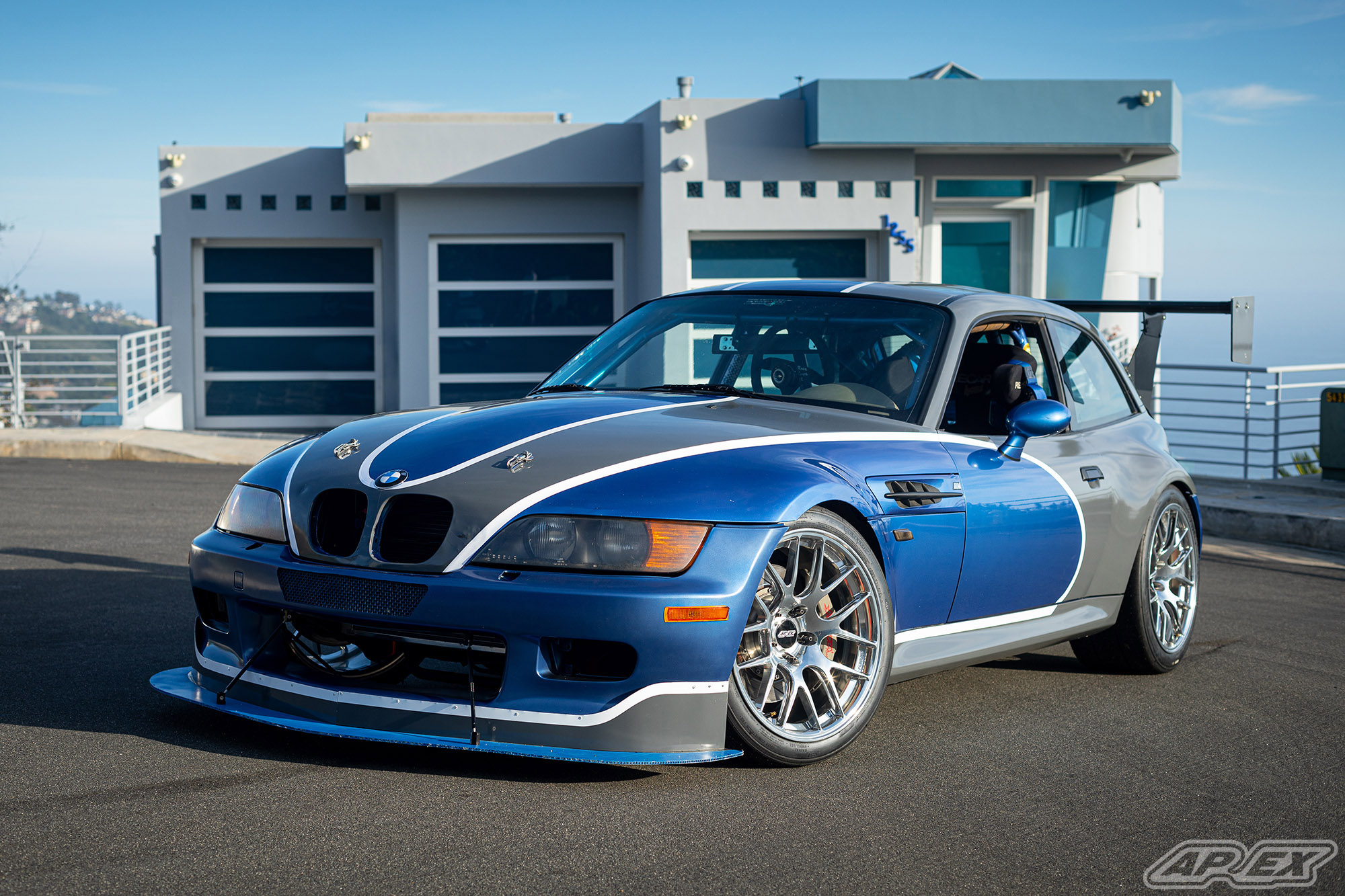 Estoril Blue Z3M Coupe Race Car on Fully Polished APEX EC-7R Forged Wheels