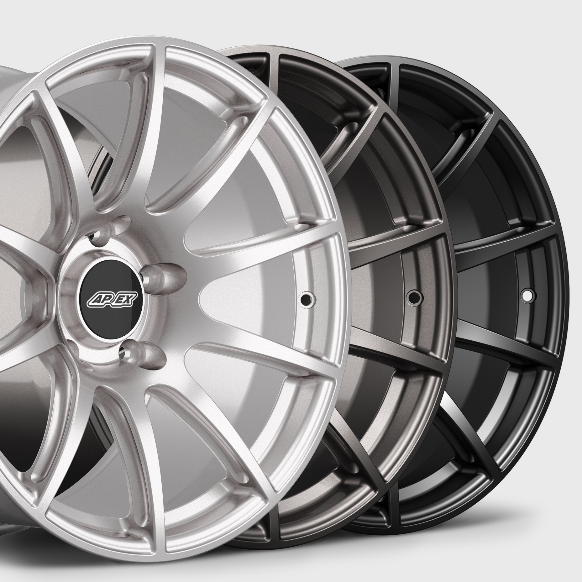 APEX 19 Inch SM-10 Mustang Track Wheel Available Finishes